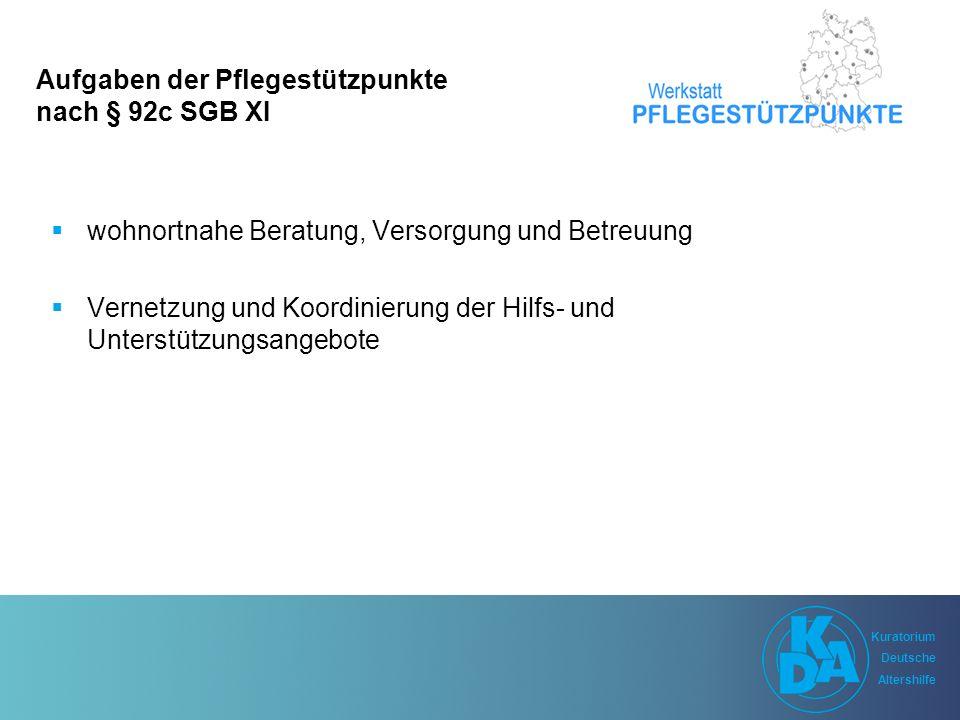 Kuratorium Deutsche Altershilfe Kuratorium Deutsche Altershilfe Schlussfolgerungen I Pflegeberatung wird im § 7a SGB XI mit Begriffen der Fallsteuerung beschrieben und nicht mit Aufgaben des Care Managements Ohne ein Care Management ist ein effektiv arbeitender Pflegestützpunkt oder die Pflegeberatung nicht denkbar Das Care Management ist eine übergreifende Aufgabe und muss daher auch von allem Trägern finanziert werden