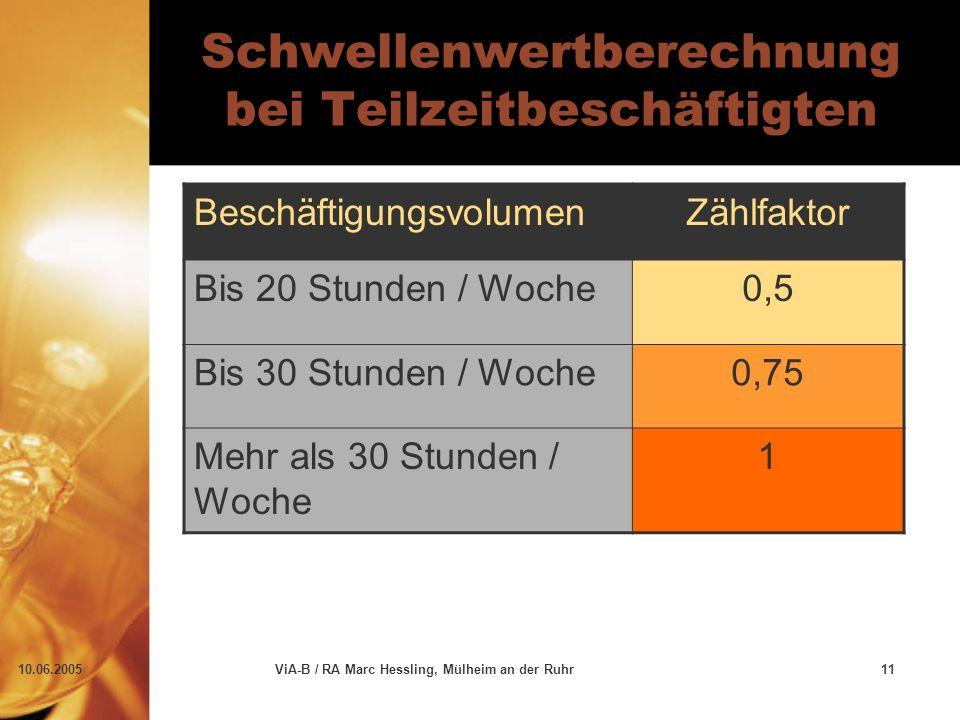 10.06.2005ViA-B / RA Marc Hessling, Mülheim an der Ruhr11 Schwellenwertberechnung bei Teilzeitbeschäftigten BeschäftigungsvolumenZählfaktor Bis 20 Stunden / Woche0,5 Bis 30 Stunden / Woche0,75 Mehr als 30 Stunden / Woche 1
