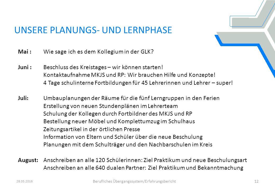 28.05.2016 Berufliches Übergangssystem/Erfahrungsbericht12 Gemeinsames Papier des Bündnisses zur Stärkung der beruflichen Ausbildung und des Fachkräftenachwuchses in Baden- Württemberg 2010 - 2014 einstimmig verabschiedet beim Spitzengespräch zur Ausbildungssituation am 4.