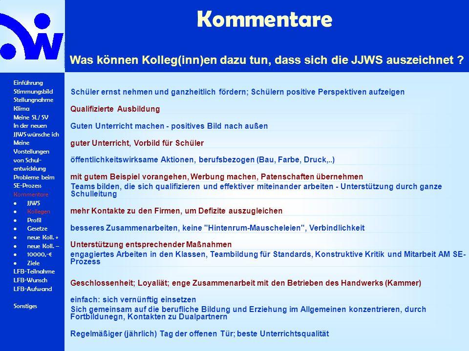 Kommentare Einführung Stimmungsbild Stellungnahme Klima Meine SL/ SV In der neuen JJWS wünsche ich Meine Vorstellungen von Schul- entwicklung Probleme beim SE-Prozess Kommentare JJWS Kollegen Profil Gesetze neue Koll.
