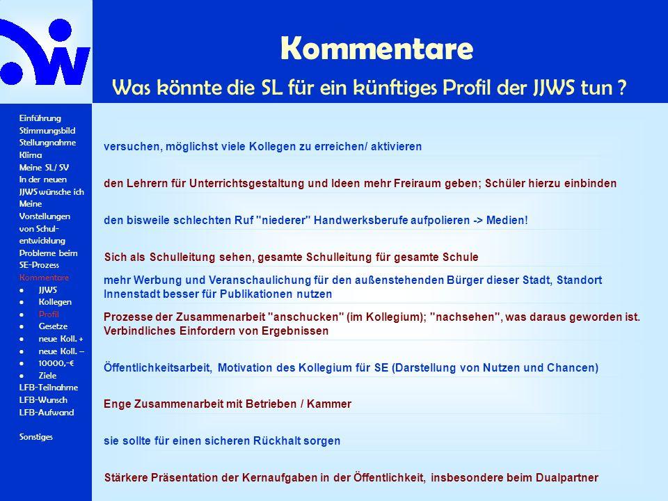 Kommentare Was könnte die SL für ein künftiges Profil der JJWS tun ? Einführung Stimmungsbild Stellungnahme Klima Meine SL/ SV In der neuen JJWS wünsc