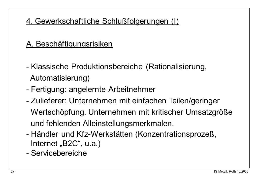 27 IG Metall, Roth 10/2000 4. Gewerkschaftliche Schlußfolgerungen (I) A.