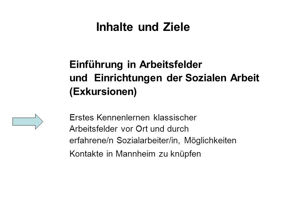 Inhalte und Ziele Einführung in Arbeitsfelder und Einrichtungen der Sozialen Arbeit (Exkursionen) Erstes Kennenlernen klassischer Arbeitsfelder vor Ort und durch erfahrene/n Sozialarbeiter/in, Möglichkeiten Kontakte in Mannheim zu knüpfen
