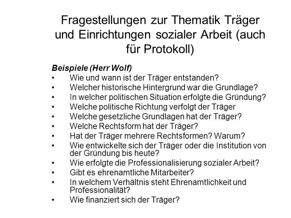 Fragestellungen zur Thematik Träger und Einrichtungen sozialer Arbeit (auch für Protokoll) Beispiele (Herr Wolf) Wie und wann ist der Träger entstanden.
