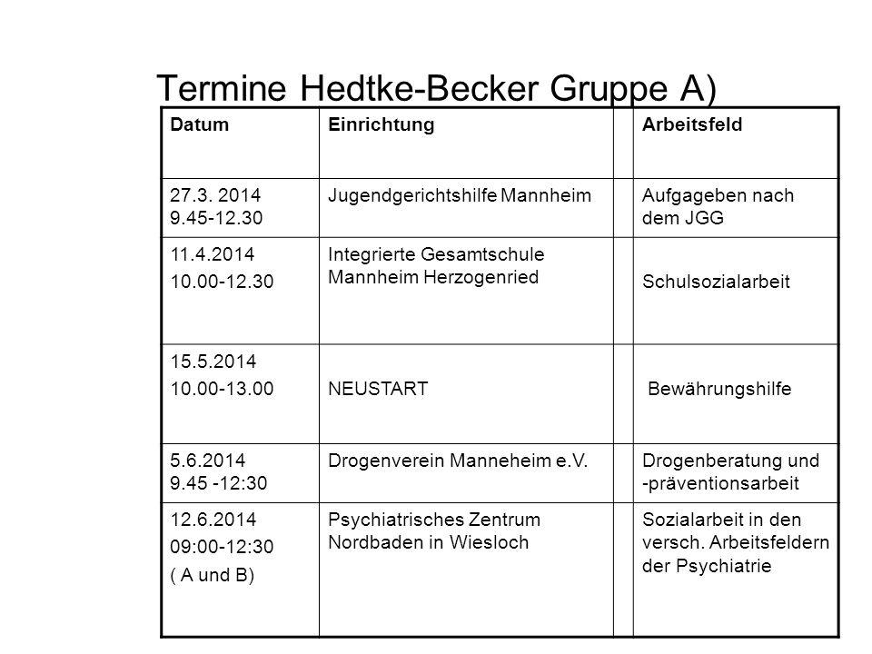 Termine Hedtke-Becker Gruppe A) DatumEinrichtungArbeitsfeld 27.3. 2014 9.45-12.30 Jugendgerichtshilfe MannheimAufgageben nach dem JGG 11.4.2014 10.00-