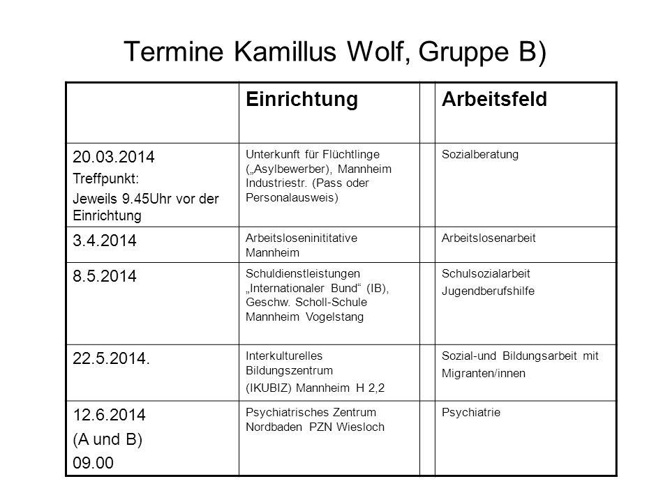 """Termine Kamillus Wolf, Gruppe B) EinrichtungArbeitsfeld 20.03.2014 Treffpunkt: Jeweils 9.45Uhr vor der Einrichtung Unterkunft für Flüchtlinge (""""Asylbewerber), Mannheim Industriestr."""