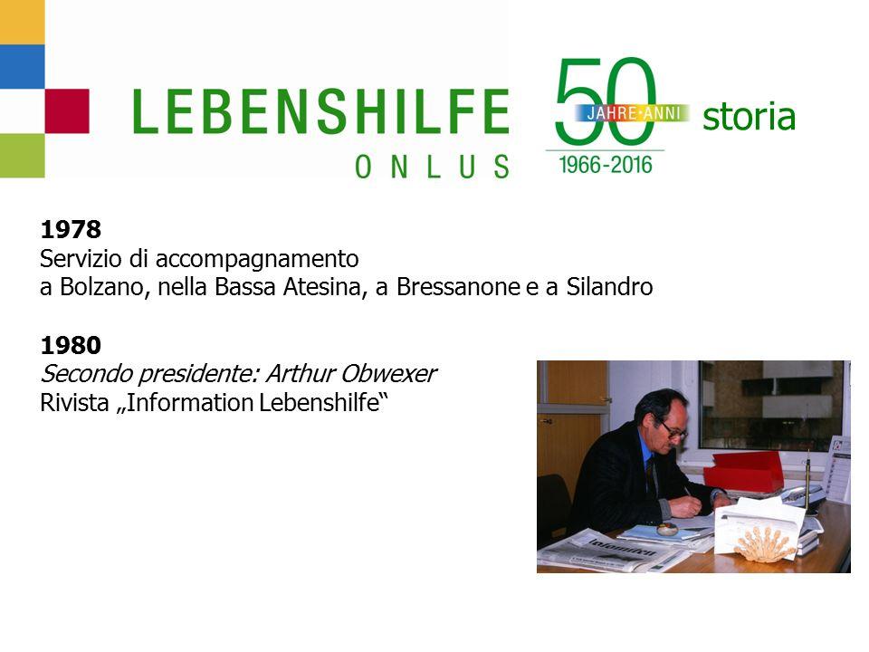 """storia 1978 Servizio di accompagnamento a Bolzano, nella Bassa Atesina, a Bressanone e a Silandro 1980 Secondo presidente: Arthur Obwexer Rivista """"Information Lebenshilfe"""
