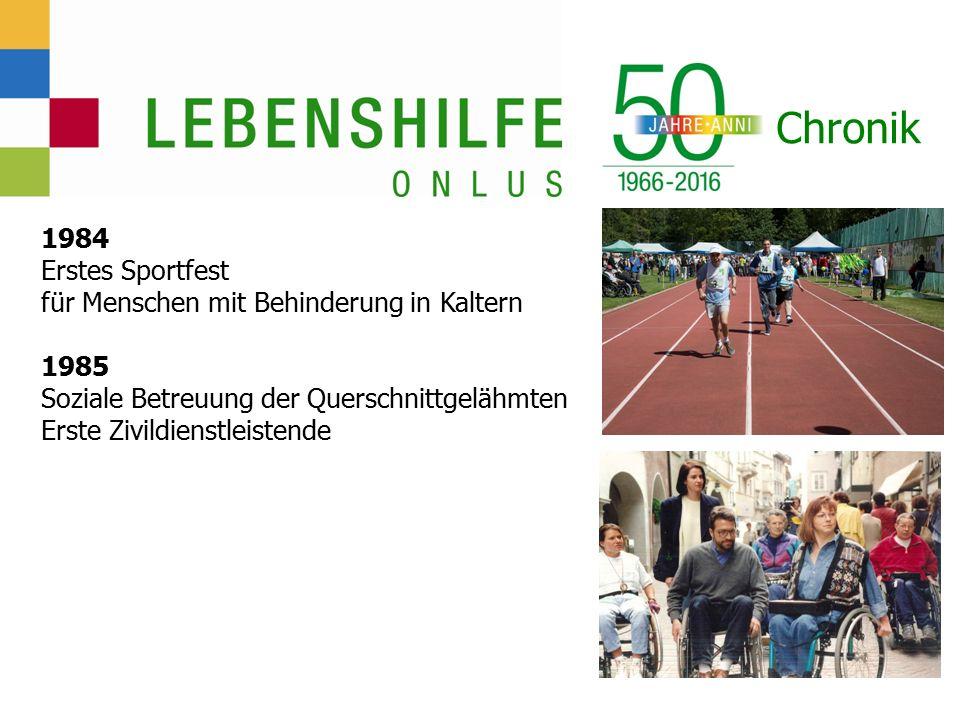 Chronik 1984 Erstes Sportfest für Menschen mit Behinderung in Kaltern 1985 Soziale Betreuung der Querschnittgelähmten Erste Zivildienstleistende