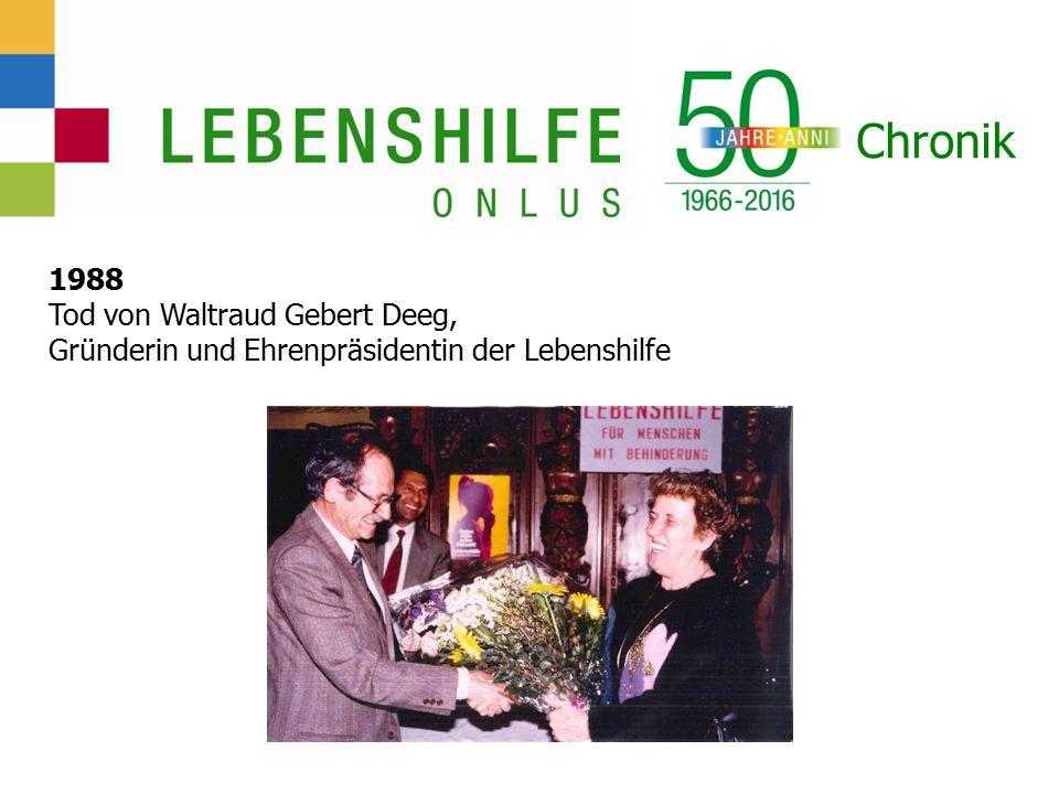 Chronik 1988 Tod von Waltraud Gebert Deeg, Gründerin und Ehrenpräsidentin der Lebenshilfe