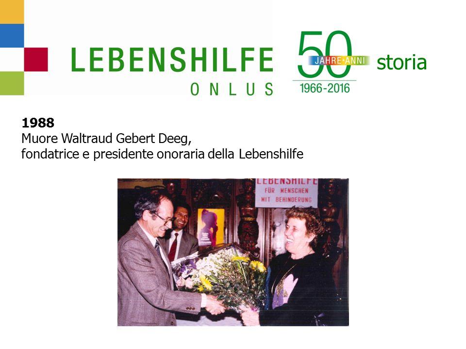 storia 1988 Muore Waltraud Gebert Deeg, fondatrice e presidente onoraria della Lebenshilfe