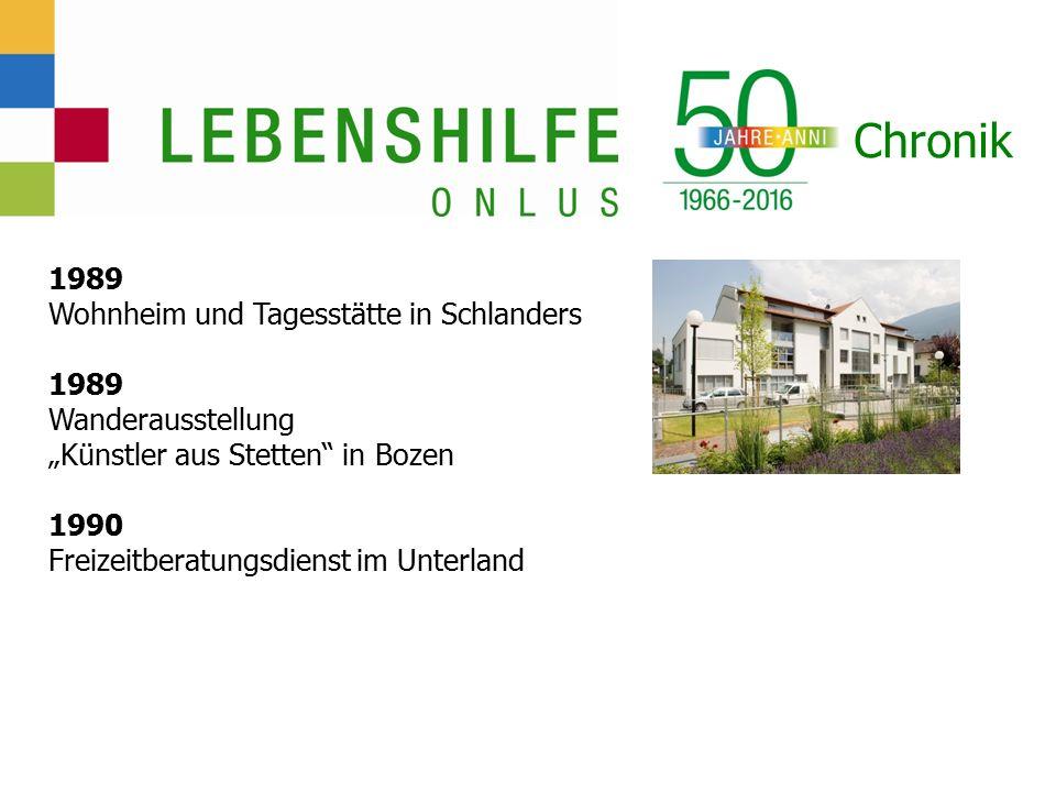 """Chronik 1989 Wohnheim und Tagesstätte in Schlanders 1989 Wanderausstellung """"Künstler aus Stetten in Bozen 1990 Freizeitberatungsdienst im Unterland"""