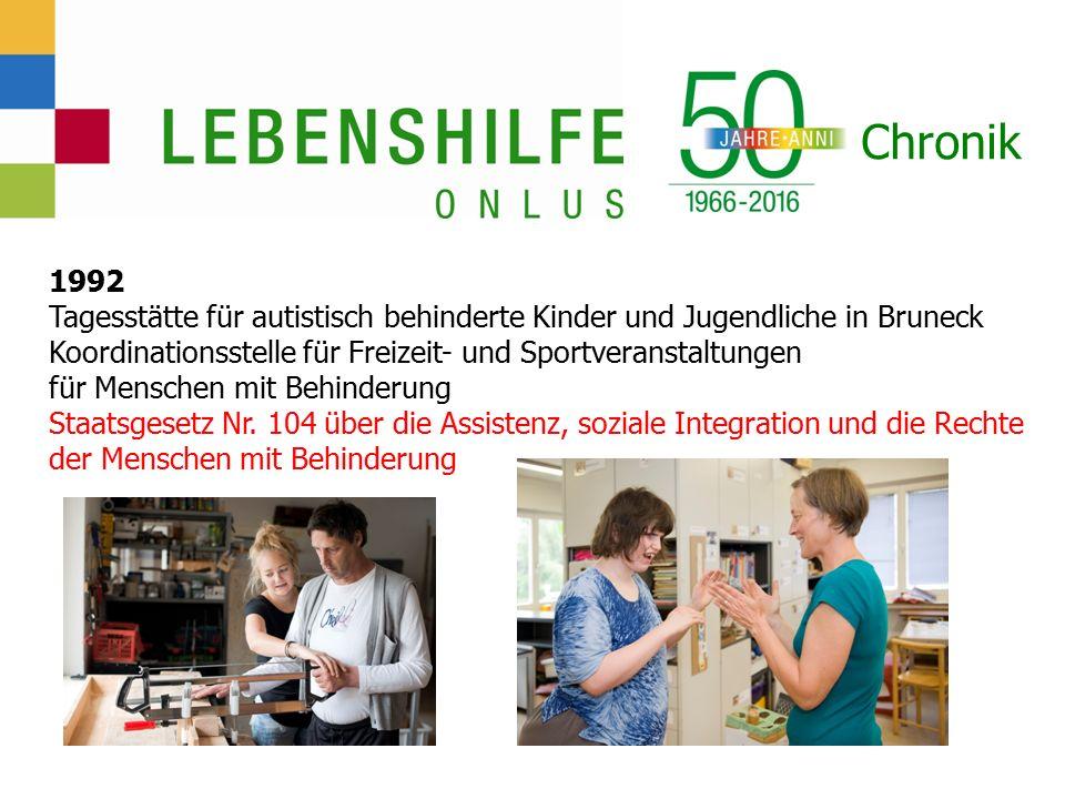 Chronik 1992 Tagesstätte für autistisch behinderte Kinder und Jugendliche in Bruneck Koordinationsstelle für Freizeit- und Sportveranstaltungen für Menschen mit Behinderung Staatsgesetz Nr.