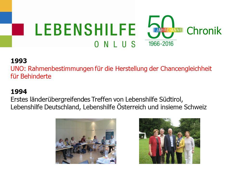 Chronik 1993 UNO: Rahmenbestimmungen für die Herstellung der Chancengleichheit für Behinderte 1994 Erstes länderübergreifendes Treffen von Lebenshilfe Südtirol, Lebenshilfe Deutschland, Lebenshilfe Österreich und insieme Schweiz
