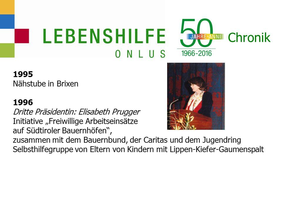 """Chronik 1995 Nähstube in Brixen 1996 Dritte Präsidentin: Elisabeth Prugger Initiative """"Freiwillige Arbeitseinsätze auf Südtiroler Bauernhöfen , zusammen mit dem Bauernbund, der Caritas und dem Jugendring Selbsthilfegruppe von Eltern von Kindern mit Lippen-Kiefer-Gaumenspalt"""