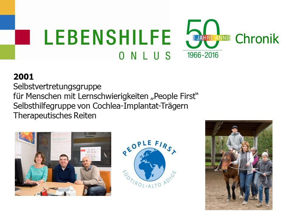 """Chronik 2001 Selbstvertretungsgruppe für Menschen mit Lernschwierigkeiten """"People First Selbsthilfegruppe von Cochlea-Implantat-Trägern Therapeutisches Reiten"""