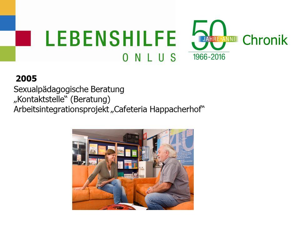 """Chronik 2005 Sexualpädagogische Beratung """"Kontaktstelle (Beratung) Arbeitsintegrationsprojekt """"Cafeteria Happacherhof"""