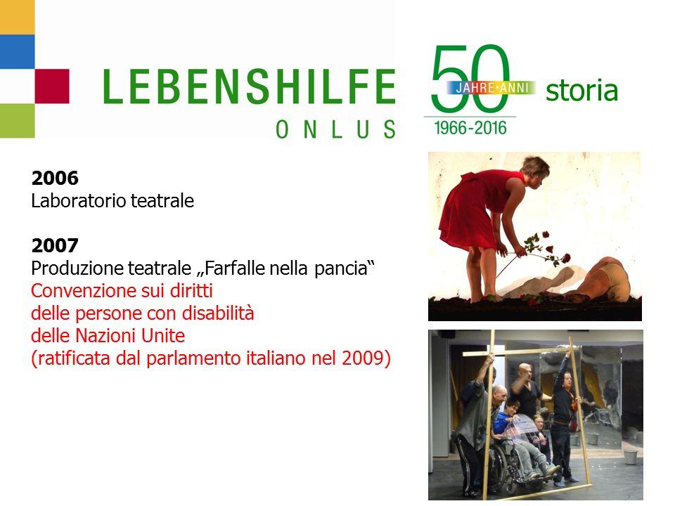 """storia 2006 Laboratorio teatrale 2007 Produzione teatrale """"Farfalle nella pancia Convenzione sui diritti delle persone con disabilità delle Nazioni Unite (ratificata dal parlamento italiano nel 2009)"""