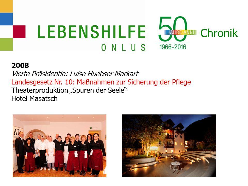 Chronik 2008 Vierte Präsidentin: Luise Huebser Markart Landesgesetz Nr.