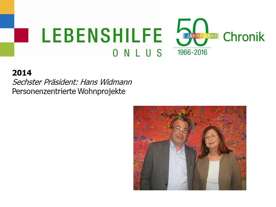 Chronik 2014 Sechster Präsident: Hans Widmann Personenzentrierte Wohnprojekte