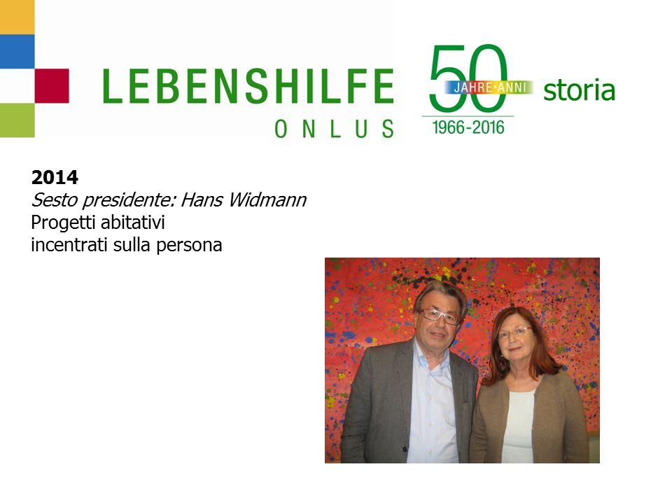 storia 2014 Sesto presidente: Hans Widmann Progetti abitativi incentrati sulla persona