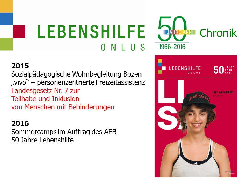 """Chronik 2015 Sozialpädagogische Wohnbegleitung Bozen """"vivo – personenzentrierte Freizeitassistenz Landesgesetz Nr."""