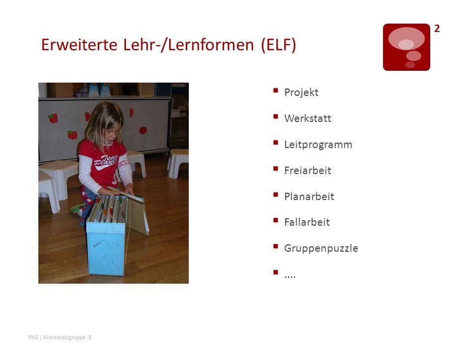 Erweiterte Lehr-/Lernformen (ELF)  Projekt  Werkstatt  Leitprogramm  Freiarbeit  Planarbeit  Fallarbeit  Gruppenpuzzle ....