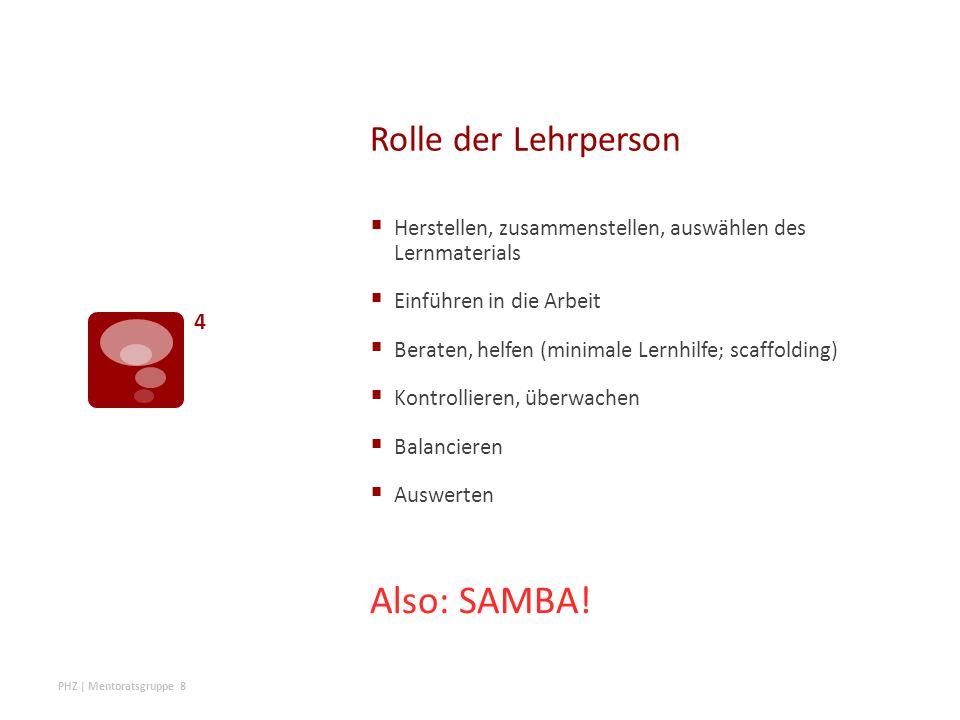 Rolle der Lehrperson  Herstellen, zusammenstellen, auswählen des Lernmaterials  Einführen in die Arbeit  Beraten, helfen (minimale Lernhilfe; scaffolding)  Kontrollieren, überwachen  Balancieren  Auswerten Also: SAMBA.