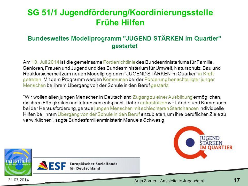 31.07.2014 17 Bundesweites Modellprogramm JUGEND STÄRKEN im Quartier gestartet Am 10.