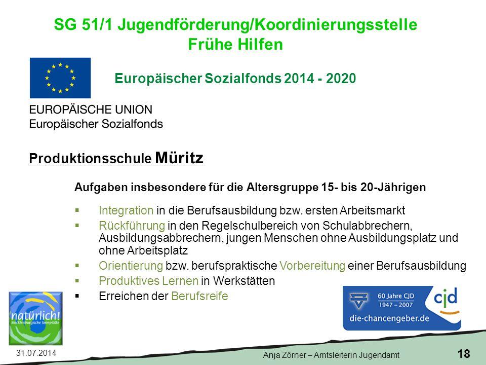 31.07.2014 18 Europäischer Sozialfonds 2014 - 2020 Aufgaben insbesondere für die Altersgruppe 15- bis 20-Jährigen  Integration in die Berufsausbildung bzw.
