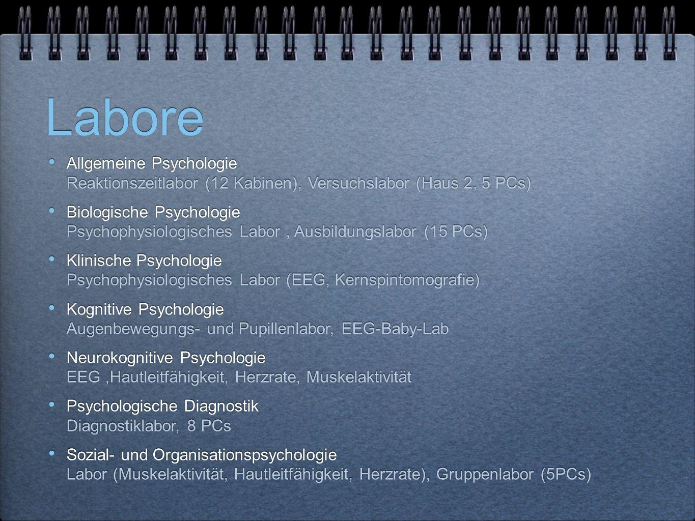 Labore Allgemeine Psychologie Reaktionszeitlabor (12 Kabinen), Versuchslabor (Haus 2, 5 PCs) Biologische Psychologie Psychophysiologisches Labor, Ausbildungslabor (15 PCs) Klinische Psychologie Psychophysiologisches Labor (EEG, Kernspintomografie) Kognitive Psychologie Augenbewegungs- und Pupillenlabor, EEG-Baby-Lab Neurokognitive Psychologie EEG,Hautleitfähigkeit, Herzrate, Muskelaktivität Psychologische Diagnostik Diagnostiklabor, 8 PCs Sozial- und Organisationspsychologie Labor (Muskelaktivität, Hautleitfähigkeit, Herzrate), Gruppenlabor (5PCs) Allgemeine Psychologie Reaktionszeitlabor (12 Kabinen), Versuchslabor (Haus 2, 5 PCs) Biologische Psychologie Psychophysiologisches Labor, Ausbildungslabor (15 PCs) Klinische Psychologie Psychophysiologisches Labor (EEG, Kernspintomografie) Kognitive Psychologie Augenbewegungs- und Pupillenlabor, EEG-Baby-Lab Neurokognitive Psychologie EEG,Hautleitfähigkeit, Herzrate, Muskelaktivität Psychologische Diagnostik Diagnostiklabor, 8 PCs Sozial- und Organisationspsychologie Labor (Muskelaktivität, Hautleitfähigkeit, Herzrate), Gruppenlabor (5PCs)