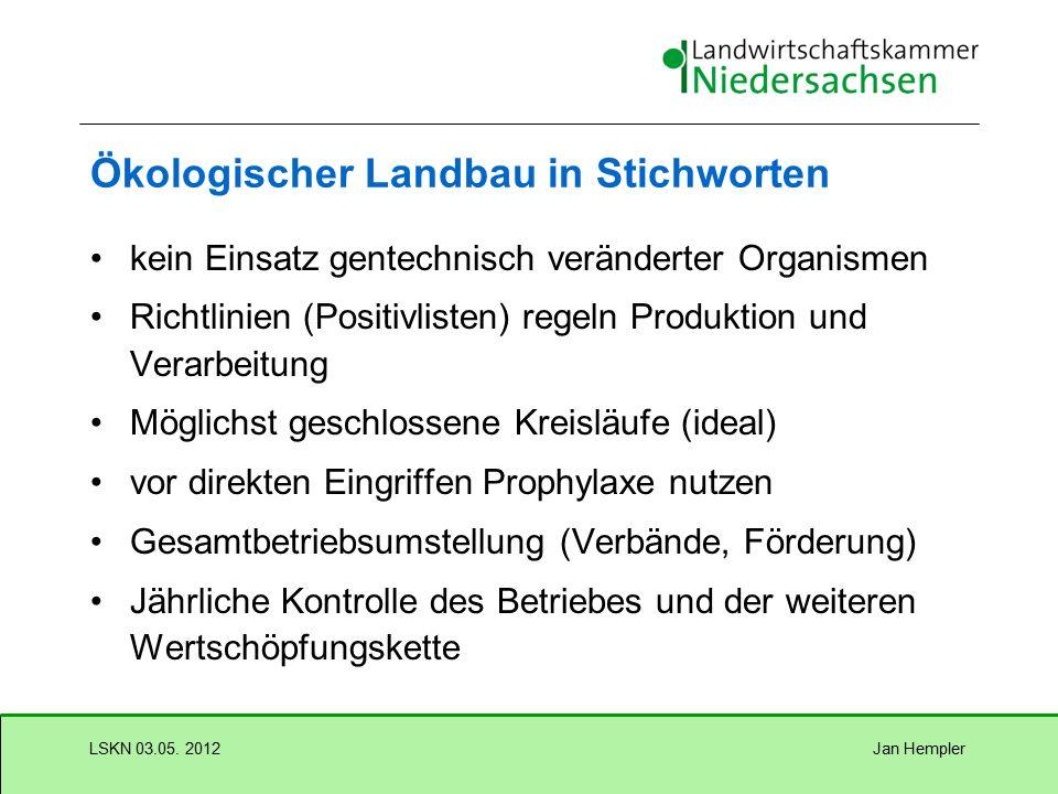 Jan HemplerLSKN 03.05. 2012 Abgrenzungen Ordnungsgemäße Landwirtschaft (konventionell) VO (EU) 834/07 und 889/08 Demeter Biopark, Gäa - Teilbetriebsum
