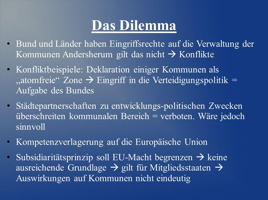 Das Dilemma Bund und Länder haben Eingriffsrechte auf die Verwaltung der Kommunen Andersherum gilt das nicht  Konflikte Konfliktbeispiele: Deklaratio