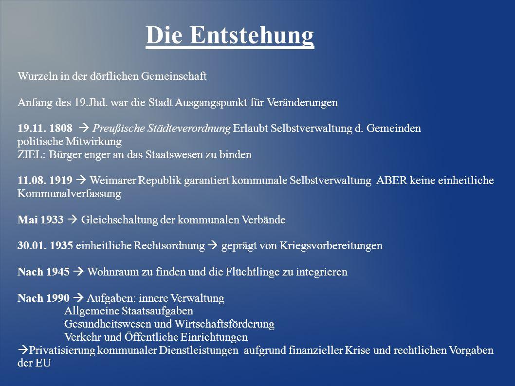 Die Entstehung Wurzeln in der dörflichen Gemeinschaft Anfang des 19.Jhd. war die Stadt Ausgangspunkt für Veränderungen 19.11. 1808   Preußische Stä
