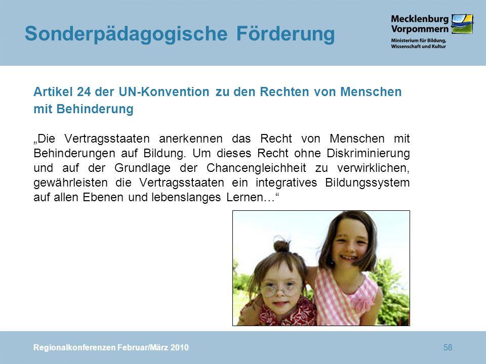 """Regionalkonferenzen Februar/März 201058 Artikel 24 der UN-Konvention zu den Rechten von Menschen mit Behinderung """"Die Vertragsstaaten anerkennen das Recht von Menschen mit Behinderungen auf Bildung."""