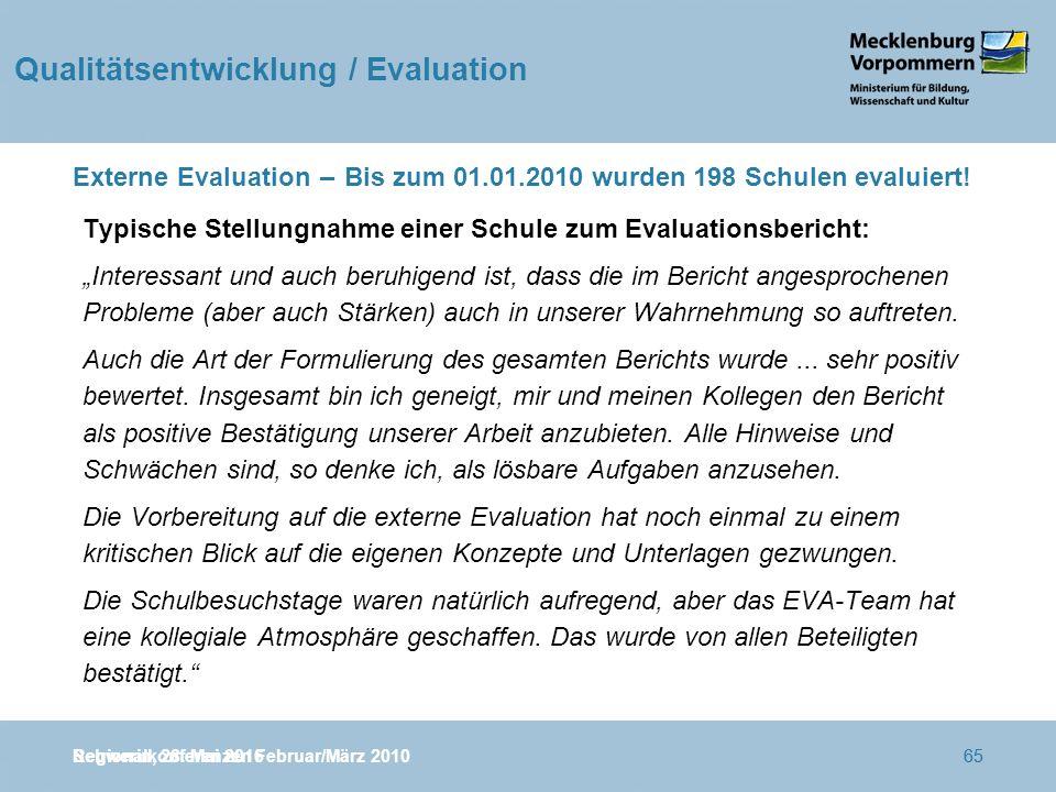 Regionalkonferenzen Februar/März 201065 Externe Evaluation – Bis zum 01.01.2010 wurden 198 Schulen evaluiert.