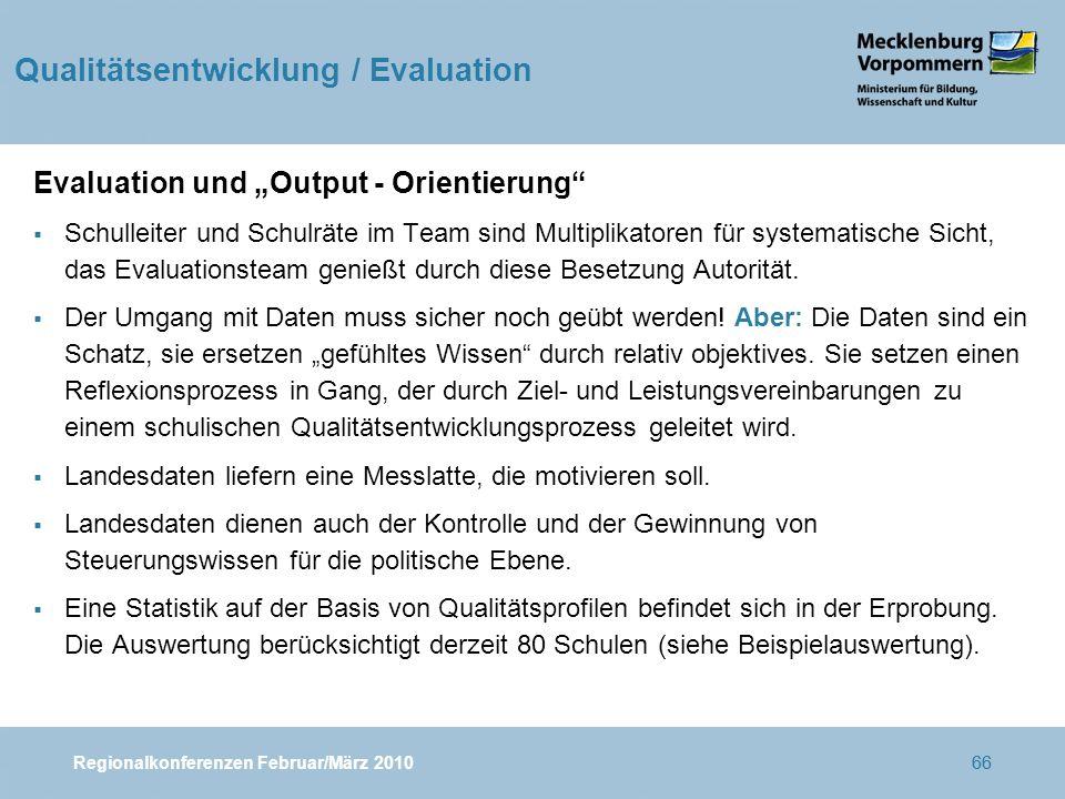 """Regionalkonferenzen Februar/März 201066 Evaluation und """"Output - Orientierung  Schulleiter und Schulräte im Team sind Multiplikatoren für systematische Sicht, das Evaluationsteam genießt durch diese Besetzung Autorität."""