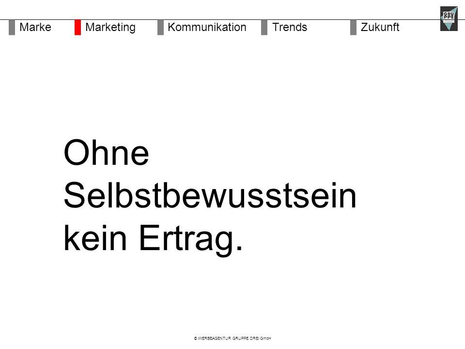 © WERBEAGENTUR GRUPPE DREI GmbH Ohne Selbstbewusstsein kein Ertrag.