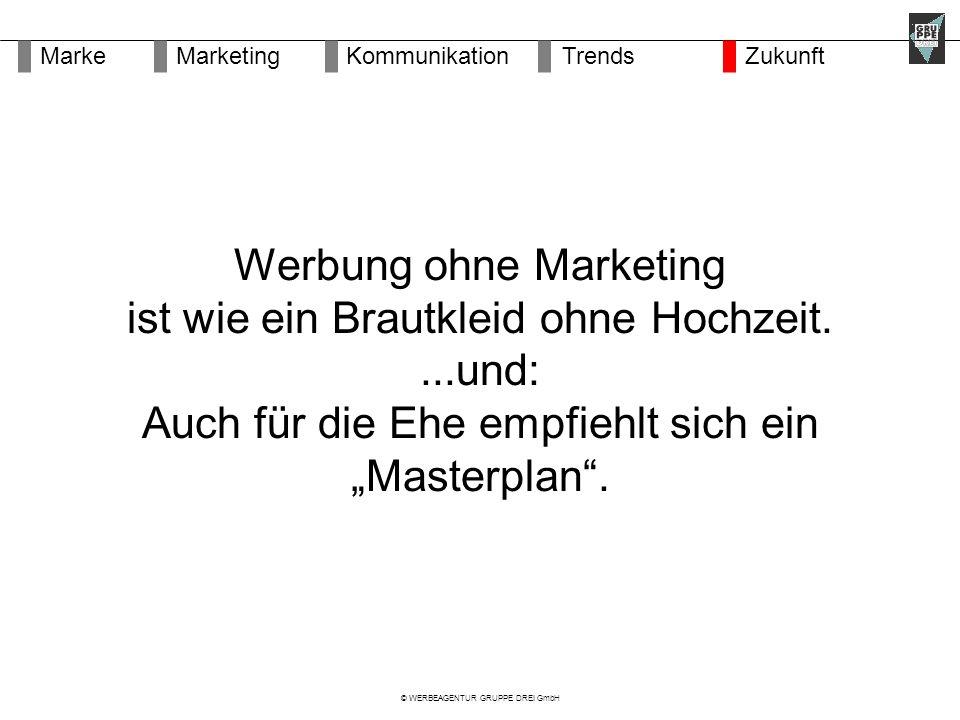 """© WERBEAGENTUR GRUPPE DREI GmbH Werbung ohne Marketing ist wie ein Brautkleid ohne Hochzeit....und: Auch für die Ehe empfiehlt sich ein """"Masterplan ."""