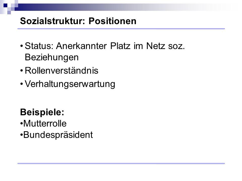 Sozialstruktur: Positionen Beispiele: Mutterrolle Bundespräsident Status: Anerkannter Platz im Netz soz.