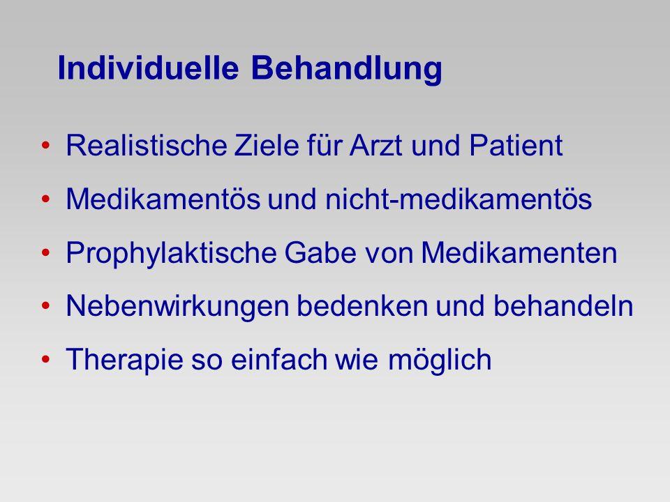 Individuelle Behandlung Realistische Ziele für Arzt und Patient Medikamentös und nicht-medikamentös Prophylaktische Gabe von Medikamenten Nebenwirkung