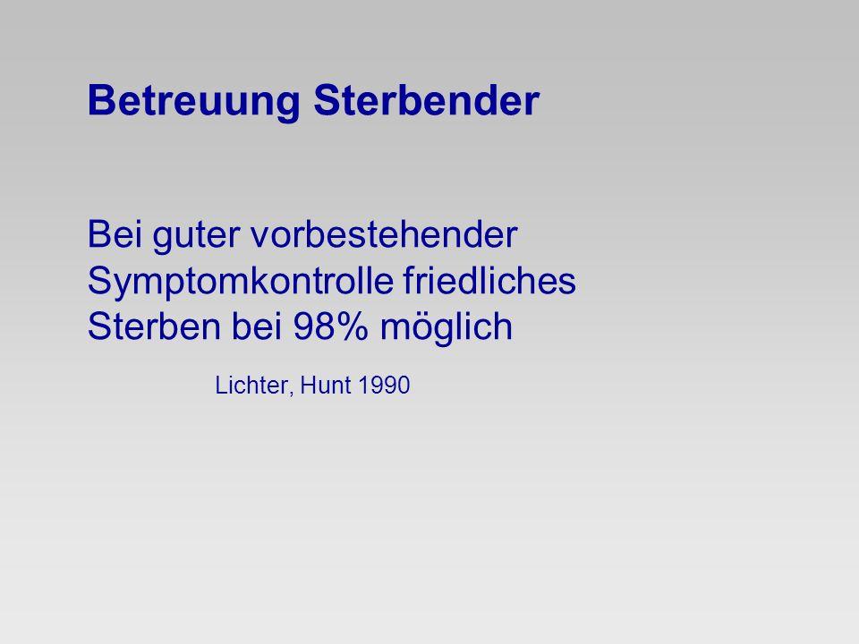 Betreuung Sterbender Bei guter vorbestehender Symptomkontrolle friedliches Sterben bei 98% möglich Lichter, Hunt 1990