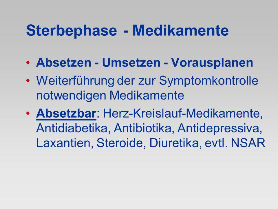 Sterbephase - Medikamente Absetzen - Umsetzen - Vorausplanen Weiterführung der zur Symptomkontrolle notwendigen Medikamente Absetzbar: Herz-Kreislauf-
