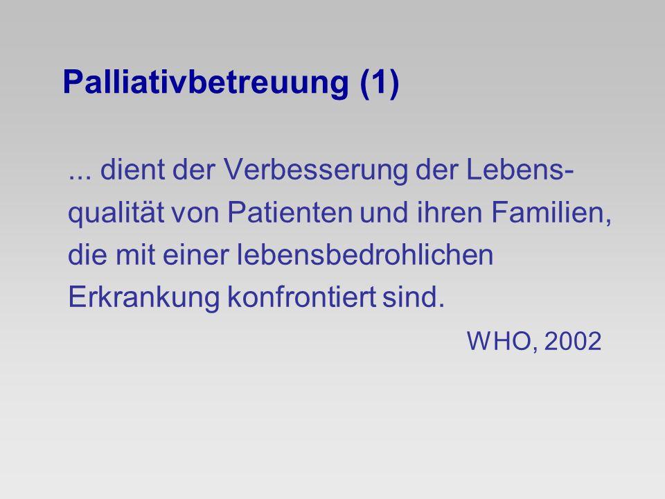 Palliativbetreuung (1)... dient der Verbesserung der Lebens- qualität von Patienten und ihren Familien, die mit einer lebensbedrohlichen Erkrankung ko