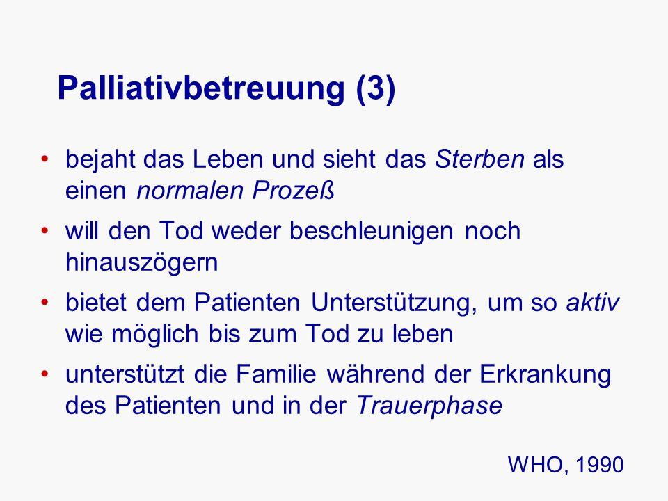 Palliativbetreuung (3) bejaht das Leben und sieht das Sterben als einen normalen Prozeß will den Tod weder beschleunigen noch hinauszögern bietet dem Patienten Unterstützung, um so aktiv wie möglich bis zum Tod zu leben unterstützt die Familie während der Erkrankung des Patienten und in der Trauerphase WHO, 1990