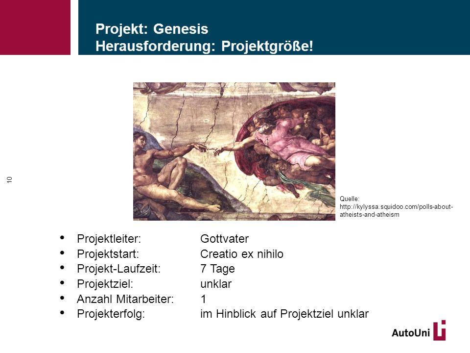 Projekt: Genesis Herausforderung: Projektgröße.