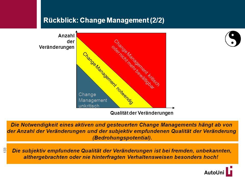 133 Rückblick: Change Management (2/2) Die Notwendigkeit eines aktiven und gesteuerten Change Managements hängt ab von der Anzahl der Veränderungen und der subjektiv empfundenen Qualität der Veränderung (Bedrohungspotential).