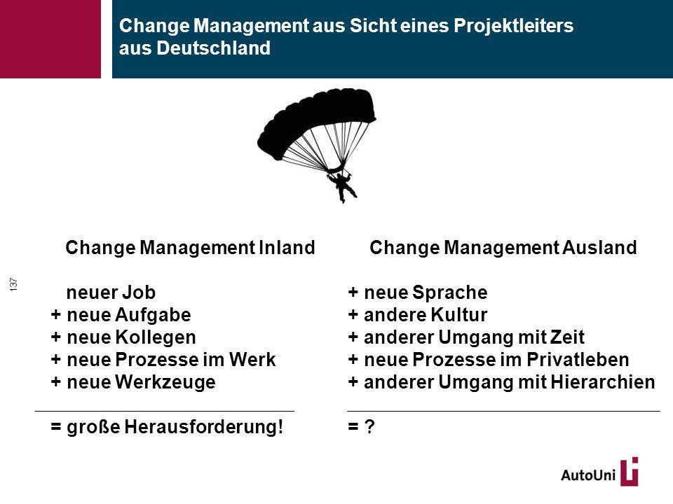 Change Management aus Sicht eines Projektleiters aus Deutschland Change Management Inland neuer Job + neue Aufgabe + neue Kollegen + neue Prozesse im Werk + neue Werkzeuge = große Herausforderung.