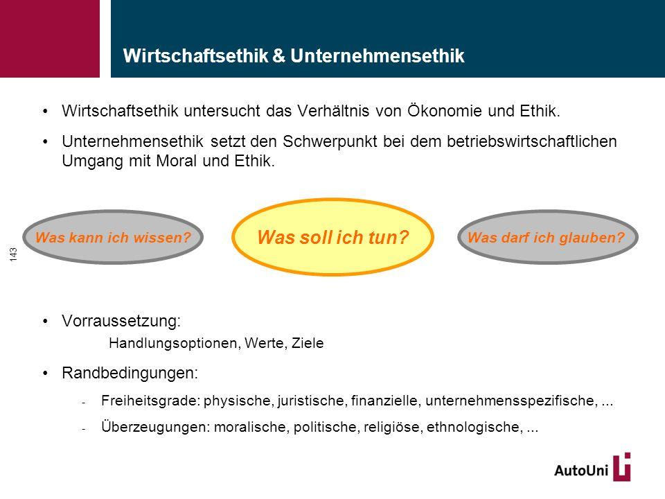 Wirtschaftsethik & Unternehmensethik Wirtschaftsethik untersucht das Verhältnis von Ökonomie und Ethik.