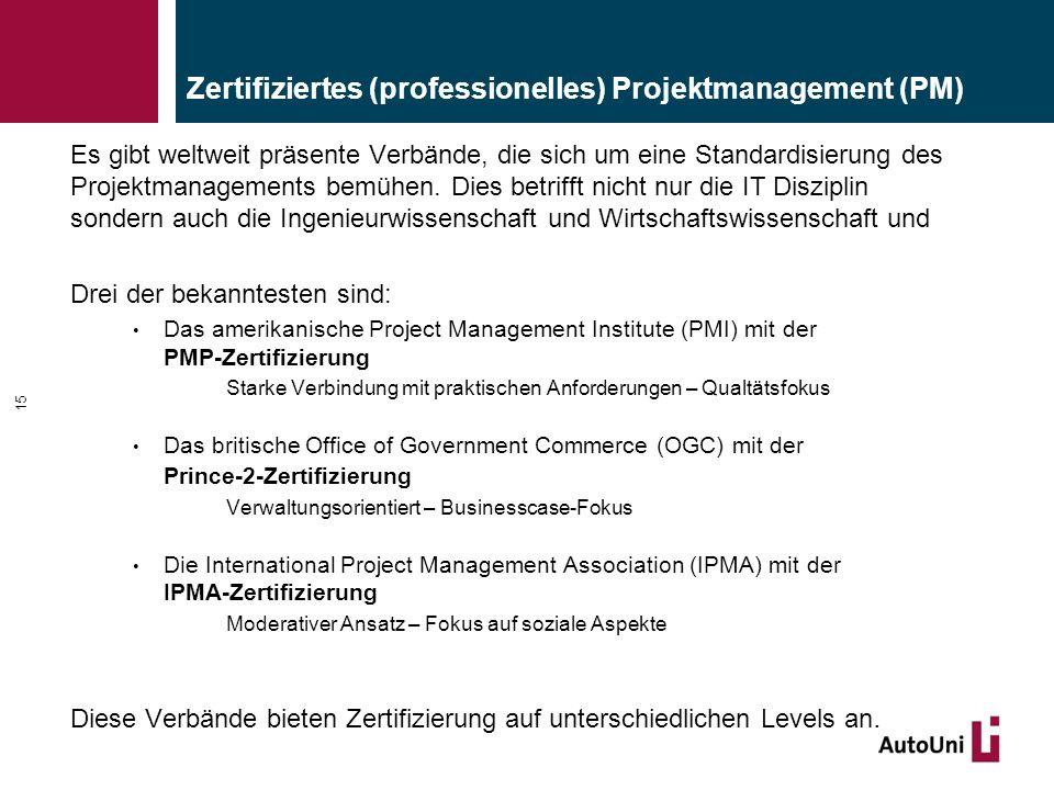 Zertifiziertes (professionelles) Projektmanagement (PM) Es gibt weltweit präsente Verbände, die sich um eine Standardisierung des Projektmanagements bemühen.