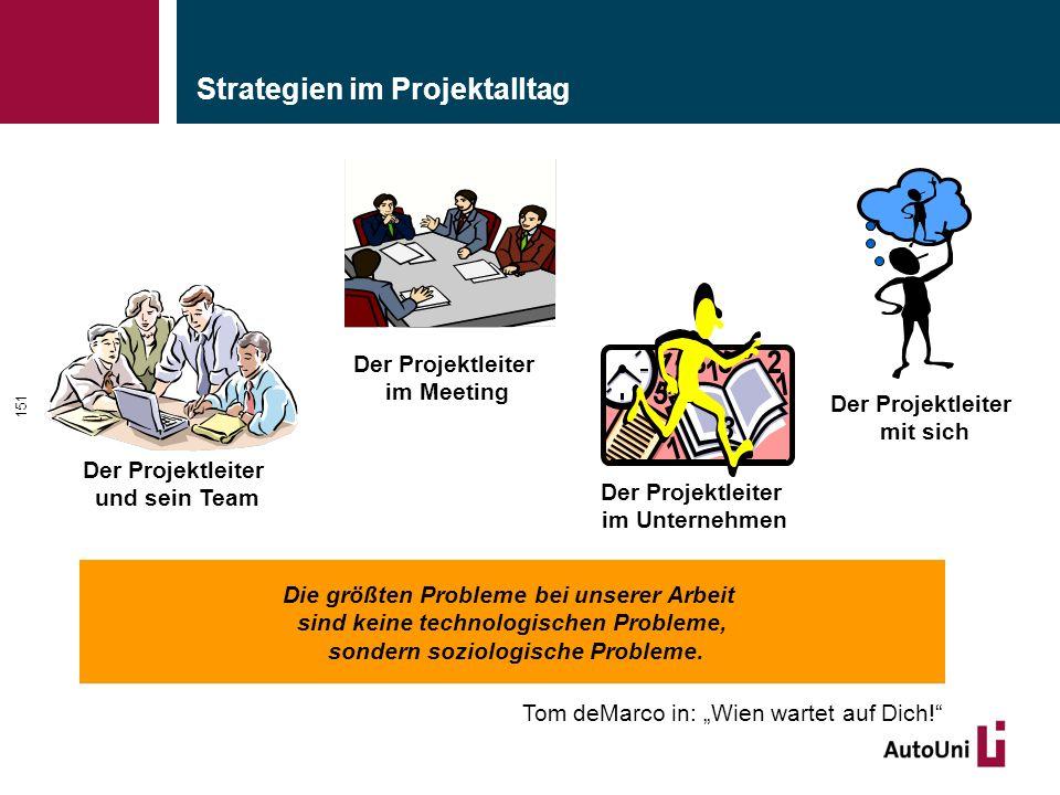 Strategien im Projektalltag 151 Die größten Probleme bei unserer Arbeit sind keine technologischen Probleme, sondern soziologische Probleme.